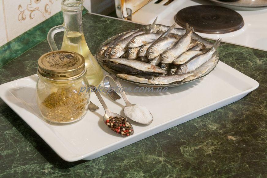 Ингредиенты для приготовления копченой салаки