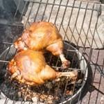 Копчёные куриные окорочка фаршированные вишнями